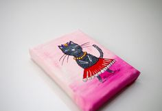 PINK funny CAT painting on canvas with wooden easel by artbyasta