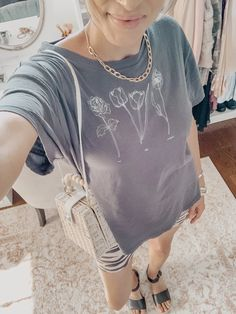 Monday Must-Haves: My Favorite Casual Tops for Summer - boyfriend tee, animal print biker shorts, espadrilles, straw bag Fashion Group, Fashion Outfits, Fashion Tips, Vogue Fashion, Fashion Beauty, Boyfriend Tee, Casual Tops, Straw Bag, Biker