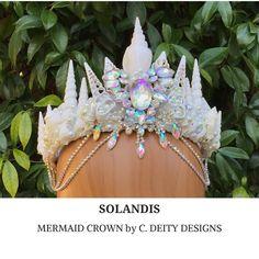 Crystal Mermaid Crown, Mermaid Costume, Seashell Crown, Mermaid Headpiece, Beach Bride Shell Crown - SOLANDIS  #seashellheadpiece