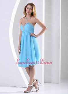 Aqua Blue Chiffon Sweetheart Beaded 2013 Dama Dresses for Sweet 16 Knee-length