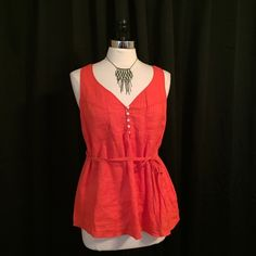 J. Crew coral pintucked linen tie waist spring top Classic 100% linen sleeveless blouse from J. Crew has pleated detailing & adjustable tie belt. Size 10 & should fit a large. EUC J. Crew Tops Blouses