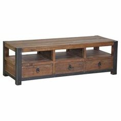 "Reclaimed pine wood coffee table with 3 open cubbies and 3 drawers.   Product: Coffee tableConstruction Material: Reclaimed pine wood and ironColor: NaturalFeatures: Three open cubbiesThree double slide drawers Dimensions: 18"" H x 56"" W x 21"" D"