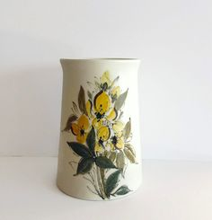 Vintage Arabia Finland Hand Painted Vase by by StateStreetVintage Vintage Vases, Green Flowers, Flower Designs, Finland, Earrings Handmade, Planter Pots, Hand Painted, Etsy Shop, Retro