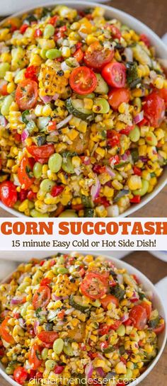 dinner side dishes Corn Succotash is the perfect summer side dish made with freshly grilled corn, zucchini, grape tomatoes, red bell peppers, lima beans and red onion. Grilled Side Dishes, Healthy Side Dishes, Vegetable Side Dishes, Side Dishes Easy, Corn Side Dishes, Vegetarian Side Dishes, Corn Recipes, Side Dish Recipes, Veggie Recipes