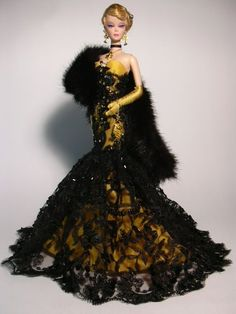 Barbie - Yellow and Black Lace