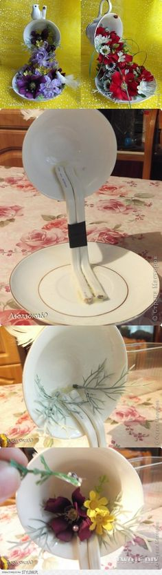 Make center piece with recycled tea cup and plate~perfect corner kitchen counter top~