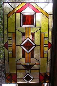 Prairie style stained and leaded glass entryway