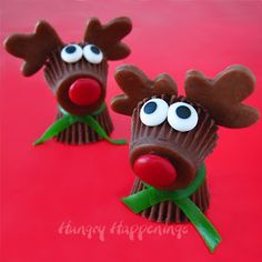"""Reese's Reindeer ~ Adorable! Need: 2 miniature Reese's Cups, """"edible glue"""" - chocolate frosting or melted chocolate to put neck, nose, eyes, antlers on, 1 thin strip from green Fruit Roll-Ups for scarf, 2 (1/4' or 3/8"""") candy eyes, 3 Tootsie Rolls Midgees or use larger Tootsie Rolls and roll flat for antlers and base for red nose, 1 red M per reindeer."""