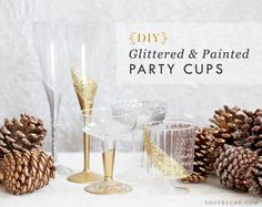 Ruche DIY: Glittered & painted party cups to add a little sparkle to your holiday festivities.