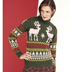 Intarsia knit reindeer and snowflakes accentuate the yoke of this contemporary interpretation of a vintage ski sweater. Reindeer Sweater, Ski Sweater, Christmas Jumpers, Christmas Sweaters, Vogue Knitting, Vintage Ski, Fair Isle Knitting, Sweater Knitting Patterns, Christmas Knitting