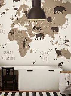 little hands: Little Hands Wallpaper Mural - World Map B&W