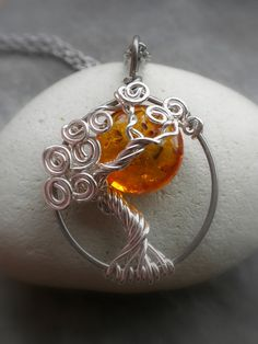 Amber Sun In a Tree Necklace Sterling Silver $50