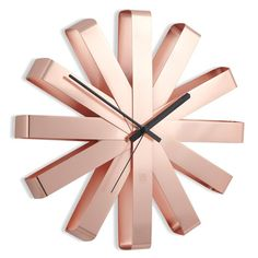 Umbra Ribbon Wall Clock - Copper - metallic sunburst clock