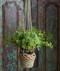 Crochet Cord Plant Hanger Pot Cozy Free Pattern - Crochet Plant Pot Cozy Free Patterns