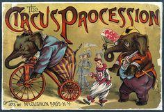 Cirque affiche « Procession de cirque » Circus victorien Print - animaux lumineux de couleur gaie Carnaval Antique