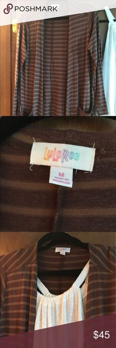 NWOT DARK BROWN TAN STRIPE LULAROE SARAH M NWOTDARK BROWN TAN STRIPE LULAROE SARAH M. NEVER WORN. FLATTERING COLOR COMBINATION SUPER SOFT LEGGING SOFT MATERIAL. LuLaRoe Sweaters Cardigans