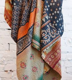 Vintage Kantha sari throws, quilts and blankets in Bohemian Style Motifs Textiles, Textile Patterns, Kantha Quilt, Quilts, A Well Traveled Woman, Running Stitch, Ethnic Fashion, Costume, Home Textile