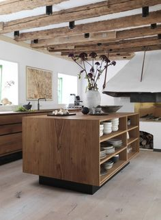 Wide oak flooring in kitchen at Redzepi - HeartOak by Dinesen