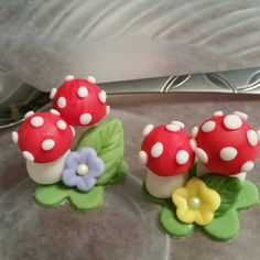 Mushroom fondant cupcake toppers for The Mad Hatter's Tea Party.