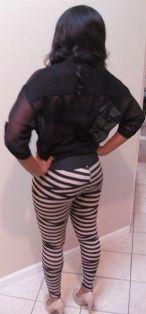 Trim+Bandage+Stripe+Leggings.+100%+Polyester