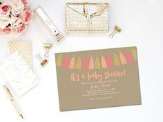 Printable baby shower invitation / girl baby shower invite / pink and peach baby shower invite / pink baby shower invite / baby girl shower by PrettyPrintablesInk