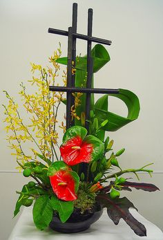 flower arrangement by foxglove and thistle, via Flickr
