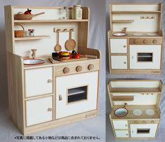 COOK TIME: A Japanese made wooden play kitchen [German beech]  Handmade. walnut, natural, white