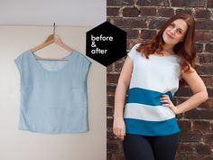 Pearls & Scissors: Refashionista Basics // Lengthening a blouse with color blocks Blouse Refashion, Diy Clothes Refashion, Trash To Couture, T Shirt And Shorts, T Shirt Diy, Modelos Pin Up, Reuse Clothes, Sewing Clothes, Altering Clothes