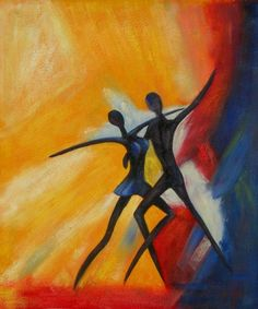 Two dancers take the stage in this bright and lively wall art. The highly simplified treatment of the figures and the interplay of their lines create drama, and their dark valued bodies pop against mu