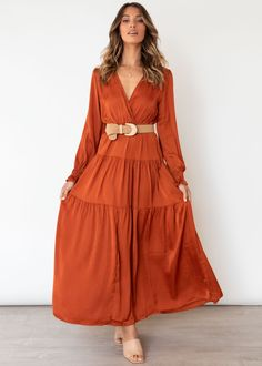 Tahiti Maxi Dress - Rust Cold Hands, Belt Tying, Strappy Heels, Gingham, Dress Up, Neckline, Leather Jacket, Chic, Jackets
