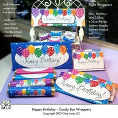 Happy Birthday Printables - Candy Bar Wrappers - Hershey, Rolors, Kit Kat, Giant Hershey, and Party Printables for Kids, Birthday ideas DIY for Teens. DAISIE COMPANY: Clipart, Printables, Graphics, DIY Crafts for Kids, Parties, Candy Wrappers, by artist Gina Jane for DAISIECOMPANY