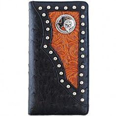 men brown black star studs small bifold hipster wallet black