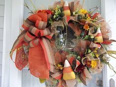 Primitive~Candy Corn~Fall~ Halloween~Wall Wreath~Mesh~ Bow~Light Up~~Burlap~ Mesh Bows, Mesh Wreaths, Bow Light, Light Up, Door Hangings, Fall Decorations, Wreath Ideas, Candy Corn, Happy Fall