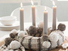 Creative Christmas decoration - DIY Advent wreath ideas %%page%% White Christmas, Christmas Crafts, Christmas Decorations, Christmas Advent Wreath, Advent Wreaths, Advent Candles, White Candles, Christmas Knitting, Christmas Inspiration