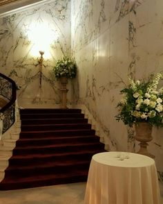 www.flowersbybrian.com Green Centerpieces, Stairs, Home Decor, Stairway, Decoration Home, Room Decor, Staircases, Home Interior Design, Ladders