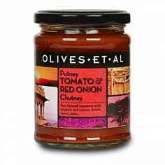 Putney Tomato & Onion Chutney  Our now famous Putney Sauce slightly retitled as Tomato and Onion Chutney which, to be fair, is a little simplistic for this rich and flavoursome combination of Sicilian tomatoes, red peppers, onions and spices which is the perfect relish for anything from cheese to chops and perfect for dipping into. Why Putney? Better than Scunthorpe (Sorry, Scunthorpians).