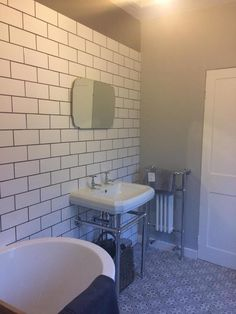 Underground White - Kitchen Tiles from Tile Mountain Bathroom Wall, Bathroom Ideas, Victorian Bathroom, Metro Tiles, Downstairs Toilet, Loft Room, Splashback, Bathroom Design Small, Fireplace Surrounds