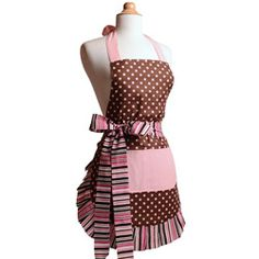 @Overstock - This fun and flirty polka-dot cotton apron is perfect for cooking, gardening, painting and more! Featuring a feminine polka dot design against multicolored contrasting stripes, this apron is soft to the touch as well as super sturdy. http://www.overstock.com/Home-Garden/Womens-Pink-Chocolate-Apron/3906085/product.html?CID=214117 $29.99
