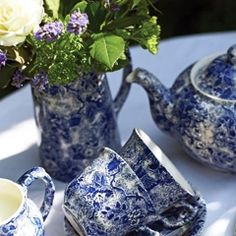 Burleigh Blue Lottie Chintz Tea Set, charming small blue rose pattern