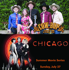 Cowboy Swing band COW BOP returns to the Hoogland on July 26 and our summer film series continues with CHICAGO on July 27.