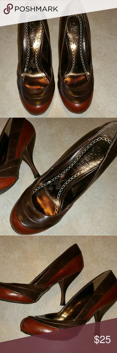 Charles by Charles David Heels New! Women's Charles by Charles David heels, two different brown leather colors. Really nice! Size 7.5. I believe 3 inch heel. Round toe. Pic shows sticker peel on insole. Great shoes. Skid resistant bottom. No box.   Make an offer! Charles David Shoes Heels