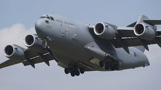 RAF Boeing Globemaster III, coming over the fence at RAF Fairford July Cargo Aircraft, Military Aircraft, C 5 Galaxy, C 17 Globemaster Iii, Air Planes, Yesterday And Today, Modern Warfare, Radio Control, Us Navy