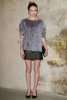 Kate Bosworth in #Topshop Unique - #faux-fur sweater and a short gold-embellished skirt.
