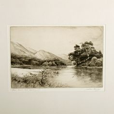 """An early 20th century etching """"Silver Strand Loch Katrine"""" by Jackson Henry Simpson (1893-1963). The original etching is pencil signed and titled, and is held in a slim black frame. The back of the frame has a label """"Original Dry Point by Jackson Simpson limited Edition"""". The etching and frame are in good condition, to the right of the pencil drawn title is the artist's blind stamp monogram. (Circa 1930) Height 37cm (14.6 inches) Width 45cm (17.7 inches) Depth 1.2cm (0.5 inches) Objet D'art, Drawing Room, Antique Art, Pencil Drawings, 6 Inches, Jackson, Antiques, Artist, Painting"""