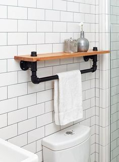 awesome Industrial towel rack shelf, Rustic Bathroom Accessory Black Iron Pipe, wall hanging, industrial decor, bathroom decor home Industrial Bathroom, Rustic Bathrooms, Industrial House, Rustic Industrial, Bathroom Interior, Bathroom Ideas, Bathroom Shelves, Rustic Wood, Industrial Shelving