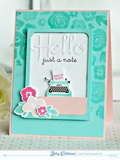 Hello Typewriter Card by Betsy Veldman for Papertrey Ink (April 2014)