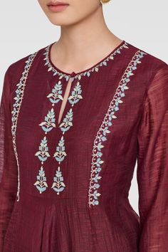 Shop from an exclusive range of luxurious wedding dresses & bridal wear by Anita Dongre. Embroidery Suits Punjabi, Embroidery On Kurtis, Hand Embroidery Dress, Kurti Embroidery Design, Embroidery Neck Designs, Embroidery On Clothes, Embroidered Clothes, Embroidery Fashion, Neckline Designs
