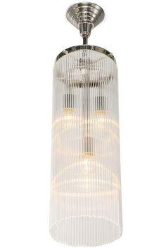 Pendelleuchte mit langem runden Kristallbehang von Art Nouveau Lamps
