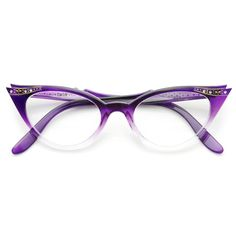 Vintage 1950's Womens Cat Eye Clear Lens Glasses - zeroUV