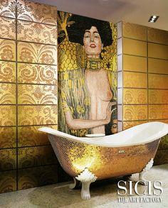 #SICIS #Mosaic #Tiles #Bath #Tub #Art #Interiors #GustavKlimt